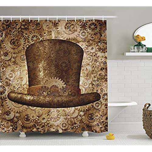 Ambesonne Victorian Decor Collection, Steampunk Top Hat As A Science  Fiction Concept Made Of Metal Copper Gears And Cogs Image, Polyester Fabric  Bathroom ...