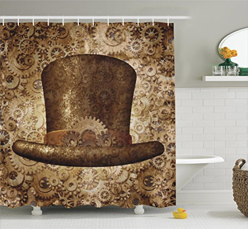 [Ambesonne Victorian Decor Collection, Steampunk Top Hat as a Science Fiction Concept Made of Metal Copper Gears and Cogs Image, Polyester Fabric Bathroom Shower Curtain, 75 Inches Long,] (Steampunk Decorations)