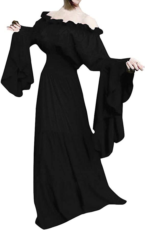 Hot Halloween Adult Medieval Lace Off-Shoulder long Dress Cosplay Stage Costume