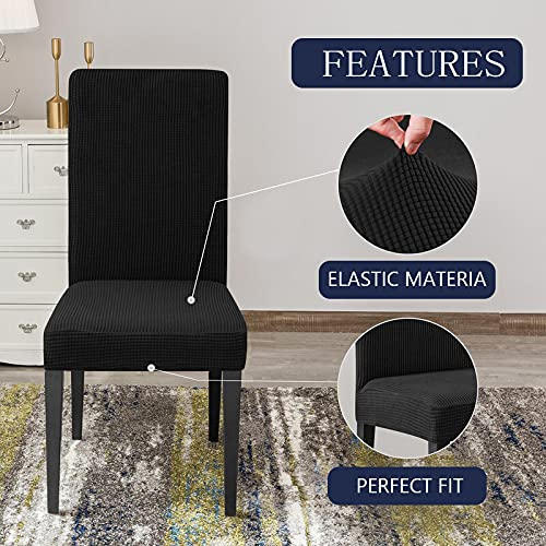 TFJ Stretch Chair Slipcovers for Dining Room, Jacquard Dining Chair Covers Set of 6, Black Chair Cover Washable Chair Protector Cover Seat Slipcover for Hotel, Banquet, Ceremony