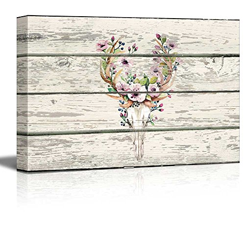Flowering Deer Skull Western Floral Artwork Rustic