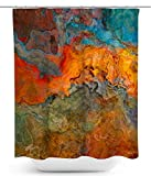 Abstract art shower curtain in orange, turquoise, and brown, Copper River