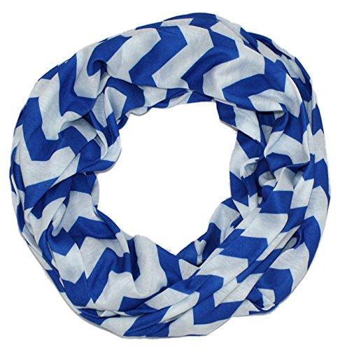 MONIQUE Women's All Season Multicolor Zig Zag Lightweight Infinity Soft Scarf,Blue One Size
