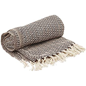 100/% Soft Premium Cotton Throw with Fringes Light Weight and Warm 60 x 80 Inches, Waffle Weave, Sage//White TreeWool