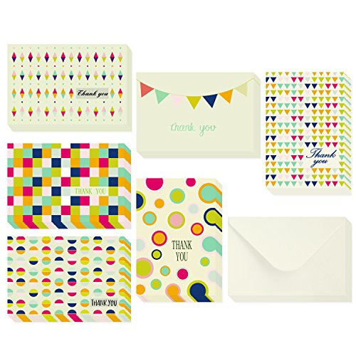 Ohuhu 48 Thank You Cards, Thank U Card of 6 Designs, Postcard Style W/ 48 Envelopes for Wedding, Graduation, Baby Shower