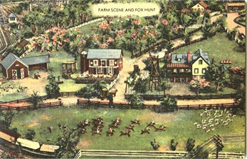 Farm Scene And Fox Hunt Roadside America Other Topics Original Vintage Postcard