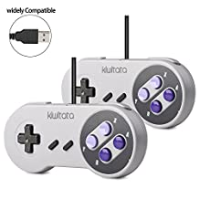 2 Pack SNES Classic USB Super Nintendo Controller Gamepad,kiwitatá Retro SNES USB Controller Joystick for Windows PC Mac Raspberry Pi 3 NEW VERSION