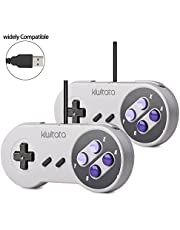 2 Pack SNES Retro USB Super NES Controller,KIWITATA Super Classic SNES USB Controller Gamepad Joystick for Windows PC Mac Raspberry Pi NEW VERSION