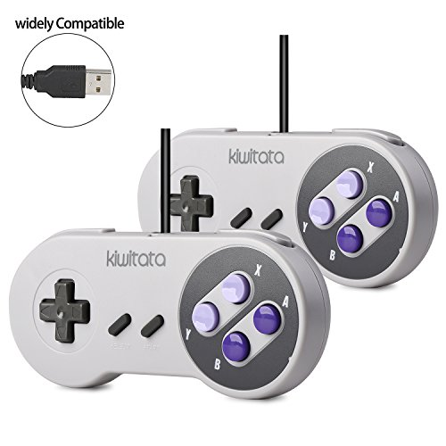 2 Pack SNES Retro USB Super Nintendo Controller,kiwitatá Super Classic SNES USB Controller Gamepad Joystick for Windows PC Mac Raspberry Pi NEW VERSION