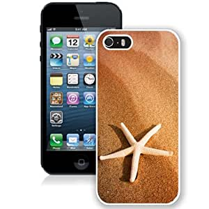 NEW Unique Custom Designed iPhone 5S Phone Case With Starfish And Sand_White Phone Case
