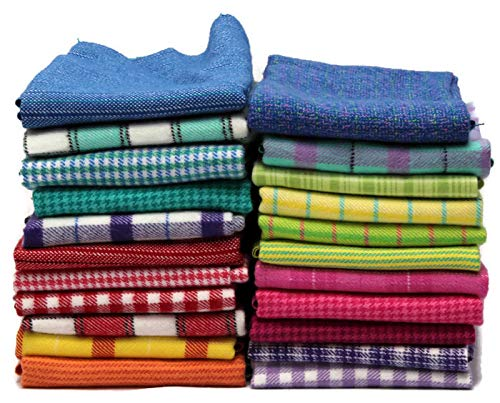 (10 Assorted Flannel Fat Quarters - Color Crush Plaids Stripes Hounds-Tooth Bright Plush Yarn-Dyed Flannel Fat Quarter Bundle M225.01)