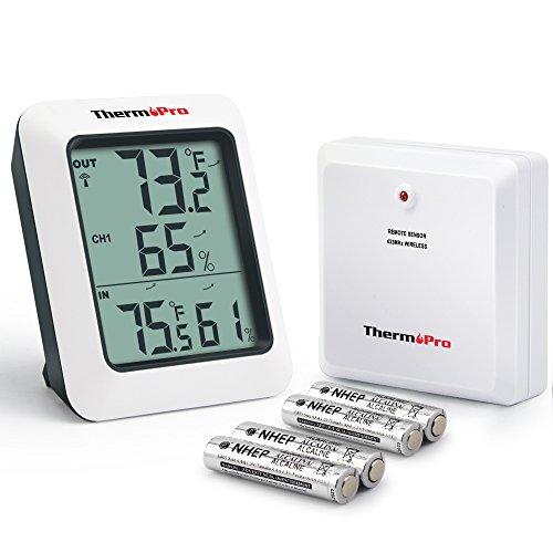 ThermoPro TP60 Digital Hygrometer Indoor Outdoor Thermometer Humidity Monitor with Temperature Gauge Humidity Meter, Wireless Outdoor Hygrometer, 200ft/60m (Indoor Outdoor Temperature Gauge)