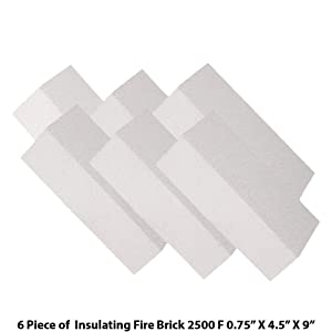 "Insulating FireBrick 2500F 0.75"" x 4.5"" x 9"" IFB Box of 6 Fire Bricks for Fireplaces, Pizza Ovens, Kilns, Forges"