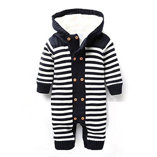 LUKYCILD Infant Newborn Baby Boy Girl Winter Hooded knitted Romper