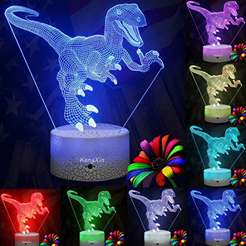 Dinosaur 3D Night Light Decorative Dinosaur LED Desk Lamp for Kids Room Bedroom Nursery Dinosaur Theme Toys Christmas Birthday Gifts for Boys Kids Dinosaur Supplies for Party Home Decor