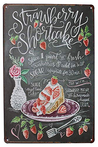 Laurbri Strawberry ShortcakeKitchen - Cartel de chapa de metal con placa de advertencia de planchado para dormitorio, escuela, pared de aluminio, decoracion de bar, cafeteria
