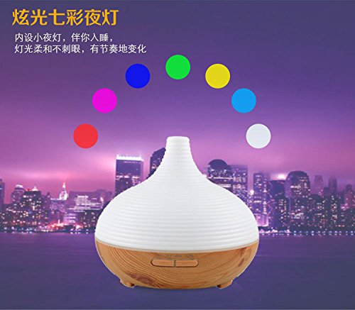 Shindn 300ML Essential oil Diffuser Electric Ultrasonic Cool Mist Humidifier Aromatherapy with 7 Color LED Lights Changing, Waterless Auto Shut-off Air Purifier (Wood grain) by Shindn (Image #3)