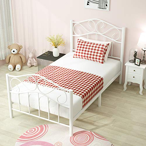 Mecor Twin Curved Metal Bed Frame Mattress Foundation Platform Bed For Kids Girls Boys Adults With Steel Headboard Footboard No Box Spring Needed White Twin Size
