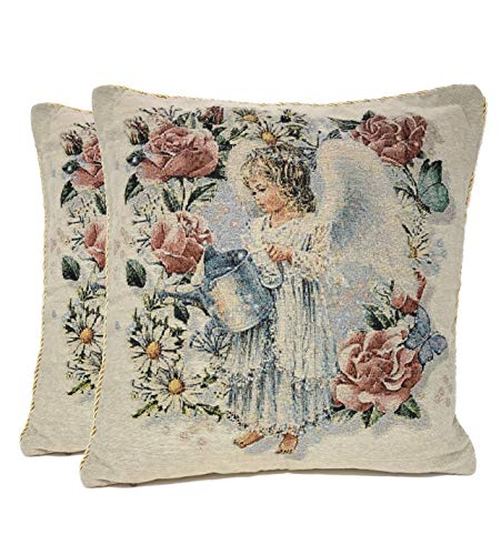 Tache 2 Piece 18 X 18 Inch Angel in The Garden Tapestry Throw Pillow Cushion Cover ()