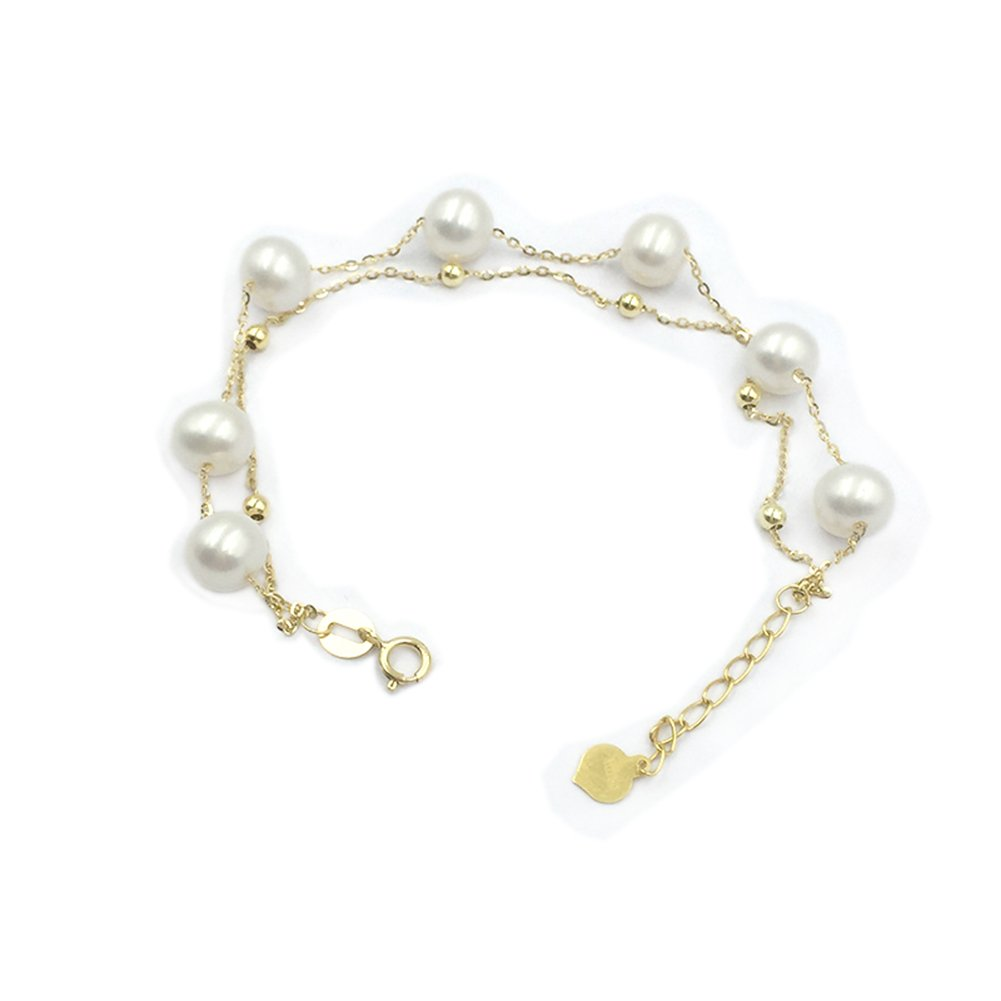 Sinya Real 18k Solid Gold Double Layer Charm Braclet Setting Round Freshwater Cultured Pearl for Women