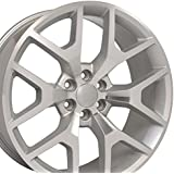 OE Wheels LLC 24 Inch Fits Chevy Silverado Tahoe GMC Sierra Yukon Cadillac Escalade Sierra 1500 Style CV92 Silver Machined 24x10 Rim Hollander 5656