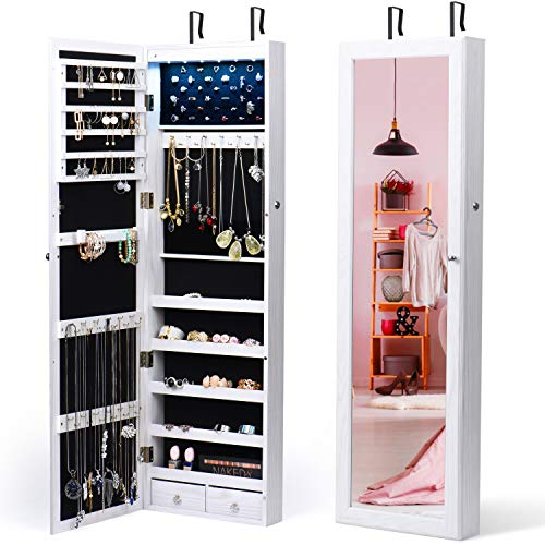 TWING Jewelry Armoire Jewelry Organizer Wall Mounted Lockable 6 LEDs Wall Mounted Jewelry Armoire with Mirror 3 Drawers Door Large Jewelry Armoire Cabinet (White) (Cabinet And Jewelry Mirror)