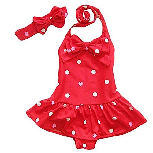 Tueenhuge Baby Girls Swimsuits One Piece Princess Beach Wear with Headband (12-24 Months, Red)