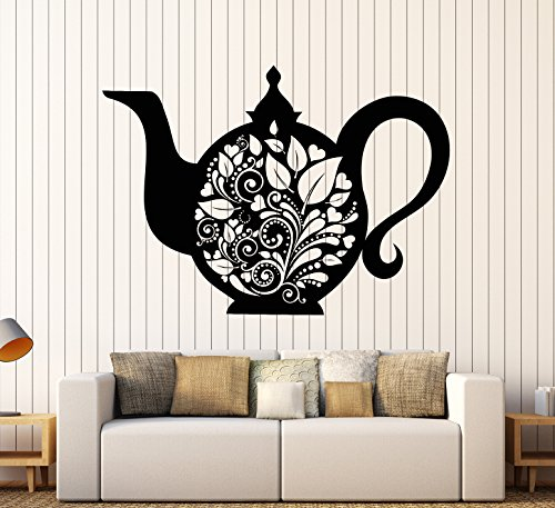 Teapot Glossy - Vinyl Wall Decal Kettle Teapot Tea Kitchen Decor Dishes Stickers Large Decor (905ig) Matte Black