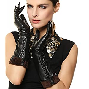 Women's Touchscreen Texting Winter Elbow Length Long Warm Fleece Lined Nappa Leather Dress Gloves w/ Buttons for Smartphone Iphone (L, Black (Touchscreen))