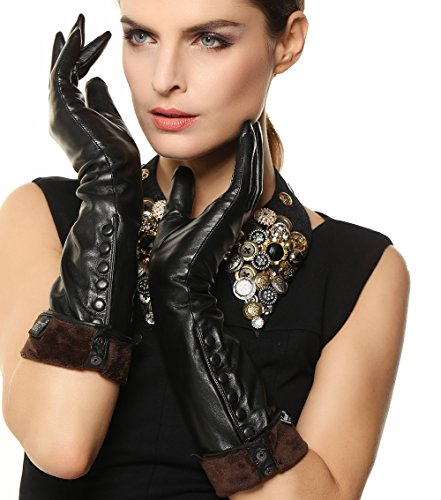 Women's Touchscreen Texting Winter Elbow Length Long Warm Fleece Lined Nappa Leather Dress Gloves Buttons Smartphone (XL, Black)