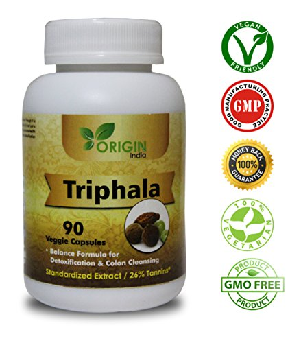 ORIGIN INDIA Triphala Capsules | 90 Vegan 450 Mg Pure Triphala Extract Capsules | 100% Natural Remedy for Detoxification & Rejuvenation