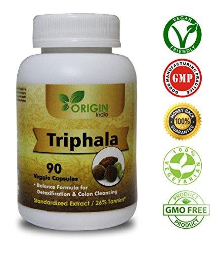 (ORIGIN INDIA Triphala Capsules | 90 Vegan 450 Mg Pure Triphala Extract Capsules | 100% Natural Remedy for Detoxification & Rejuvenation)