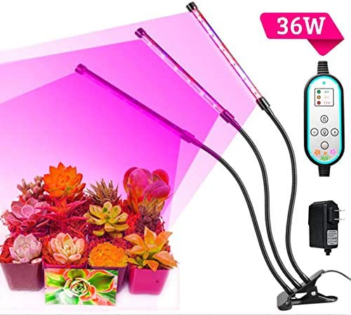Cycle Timing High Brightness 36W Light Effect,Three Tube Plant Grow Light, 360 Degree Flexible, Auto ON Off Every Day,4H 8H 12H Cycle Timer Switch for Indoor Plants Greenhouse Office,LED Plant Light