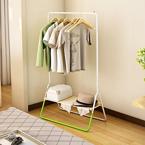 Creatwo Garment Rack with Wood Shelf Portable Metal Clothes Rack Laundry Clothes Drying Rack, White/Green by Creatwo (Image #2)