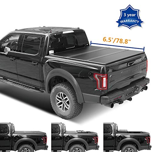 HAIHUA 6.5ft 78.8in. Hard Tri Fold Truck Bed for 2004-2014 Ford F-150 Fleetside 2006-2008 Lincoln Mark LT Pickup Tonneau Cover with LED Lamp Waterproof Tape (Not for Track Sys. & Roll Bar)