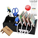 Bamboo Black Charging Station for Multiple Devices, Docking Organizer Holder for iPhone, Cell Phone iPad and Apple Watch Stand, Desktop Wood Storage Box, (Without USB Charger) - Pezin & Hulin