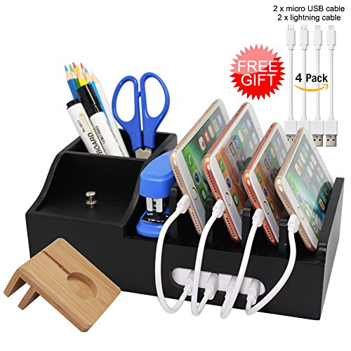 Bamboo Black Charging Station for Multiple Devices, Docking Organizer Holder for iPhone, Cell Phone iPad and Apple Watch Stand, Desktop Wood Storage Box, (Without USB Charger) - Pezin & Hulin by Pezin & Hulin