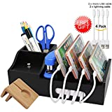 Black Bamboo Charging Station for Multiple Devices, Docking Organizer Holder for iPhone, Cell Phone iPad and Apple Watch Stand, Desktop Wood Storage Box, (Without USB Charger) - Pezin & Hulin