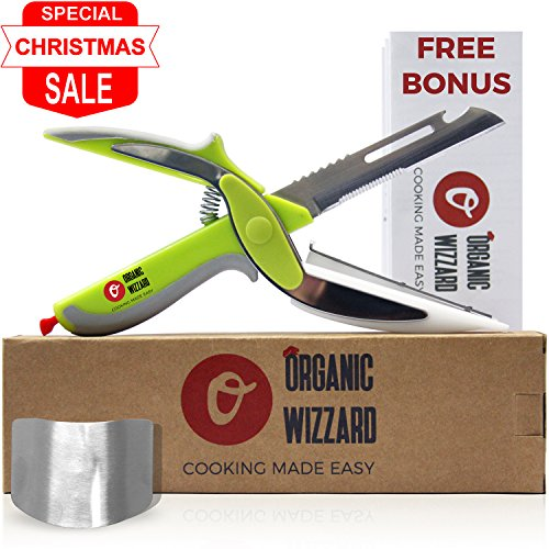 Organic Wizzard Kitchen Knife with Cutting Board and Finger Guard, 6 in 1 Universal Scissors Food Chopper, Slicer, Cutter, Dicer for Vegetables Fruits Meat and Cheese [Upgraded Version] (Green)