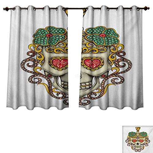 RuppertTextile Day of The Dead Blackout Thermal Backed Curtains for Living Room Sugar Skull with Heart Pendants Floral Colorful Design Print Customized Curtains White Ivory and Yellow W52 x L63 inch (Backed Fancy Heart Pendant)