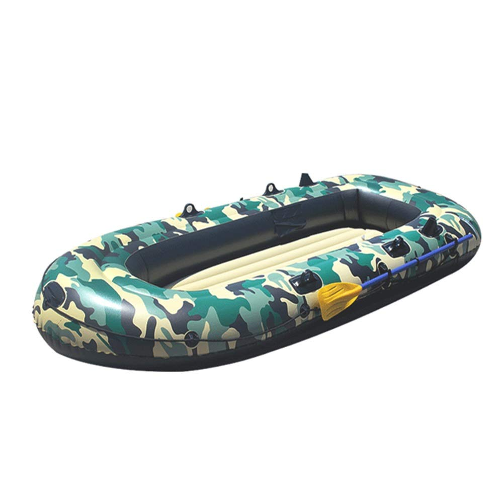 Durability Inflatable Kayaks Durable Flood Control Fishing Four People Thick Wear-Resistant Drifting Inflatable Hard Bottom Kayak (Color : Green, Size : 125x230cm) by BoeWan