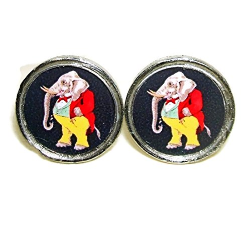 DAPPER DRESSED ELEPHANT CUFFLINKS VINTAGE ILLUSTRATION CUFF LINKS SILVER PLATED ()