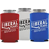 Liberal Tears 3-Pack Can Coolie Drink Coolers Beer Sleeve Funny Gag Gift Joke: Red, White, and Blue