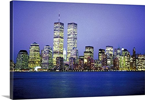 Canvas On Demand Premium Thick-Wrap Canvas Wall Art Print entitled New York City skyline with World Trade Center by Canvas on Demand