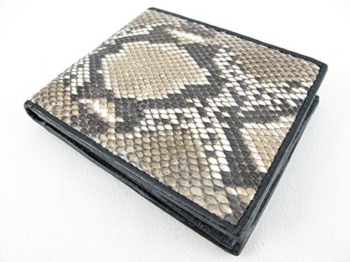 n Snake Skin Leather Bifold Wallet (Reticulated Natural) (Python Skin Leather)