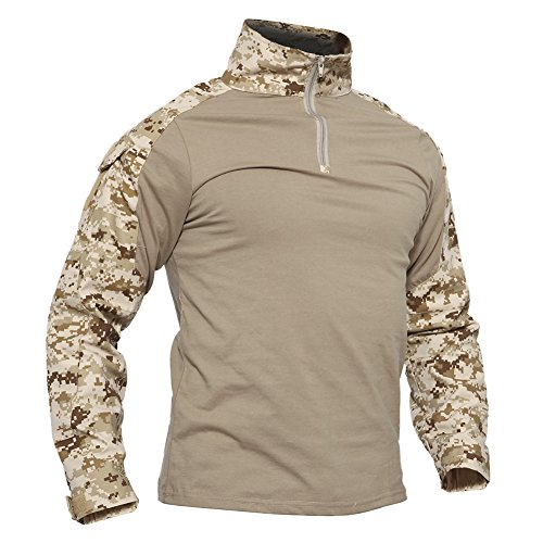 TACVASEN Mens Tactical Digital Camo Tactical Assault Long Sleeve T-Shirt Tops Desert,US S ()