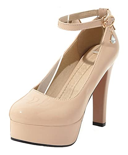 55df3d582fd Mofri Women s Sexy Burnished Round Toe Ankle Strap Work Shoes Chunky High  Heel Platform Pump (