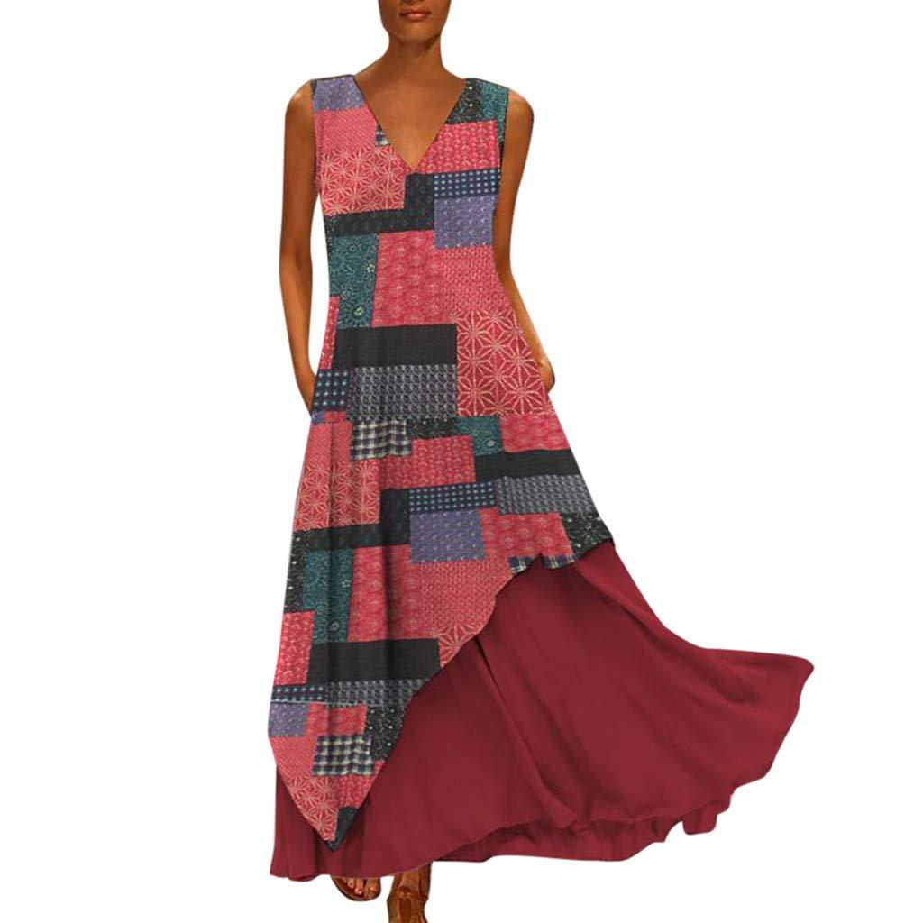 Nmch Women's Vintage Print Chiffon Irregularity Patchwork Long Dress Bohemian V Neck Sleeveless Plus Size Maxi Dresses(Wine,XXXL)