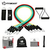 Exercise Resistance Bands Set, Fitness Stretch Workout Bands 11PC with Fitness Tubes, Foam Handles, Ankle Straps, Door Anchor for Home Gym Fitness, Physical Therapy, Up to 150 lbs