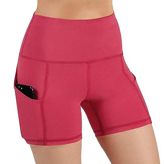 czos88 Mujer Cintura Alta Pantalones Yoga Ejercicio Calzones Elástico Deporte Correr Pantalones Cortos Reductor Abdomen con Bolsillos Laterales - ...